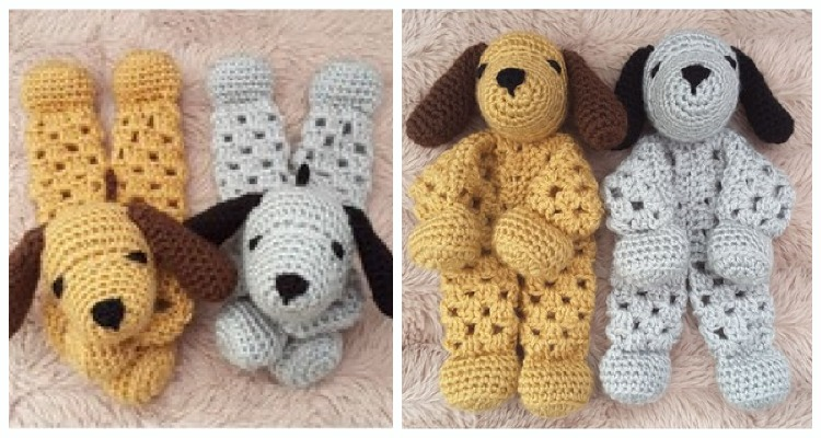 Puppy Dog Granny Hexagon Lovey Crochet Free Pattern