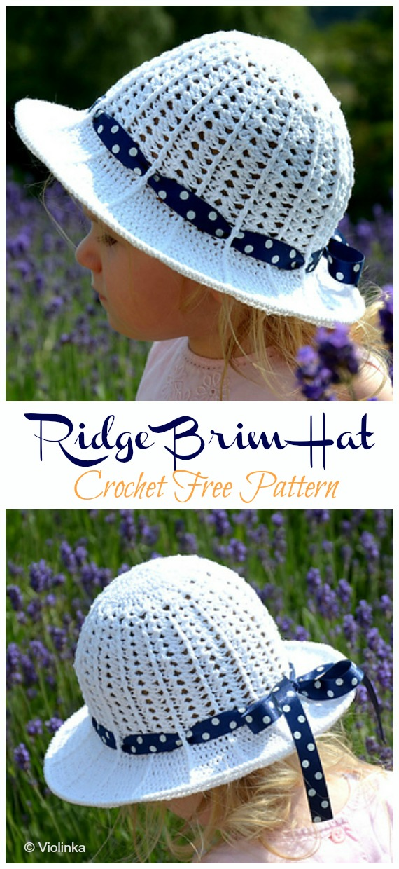 Ridge Brim Hat Crochet Free Pattern - Frauen / Mädchen #Sonnenhut;  Kostenlose #Häkeln;  Muster
