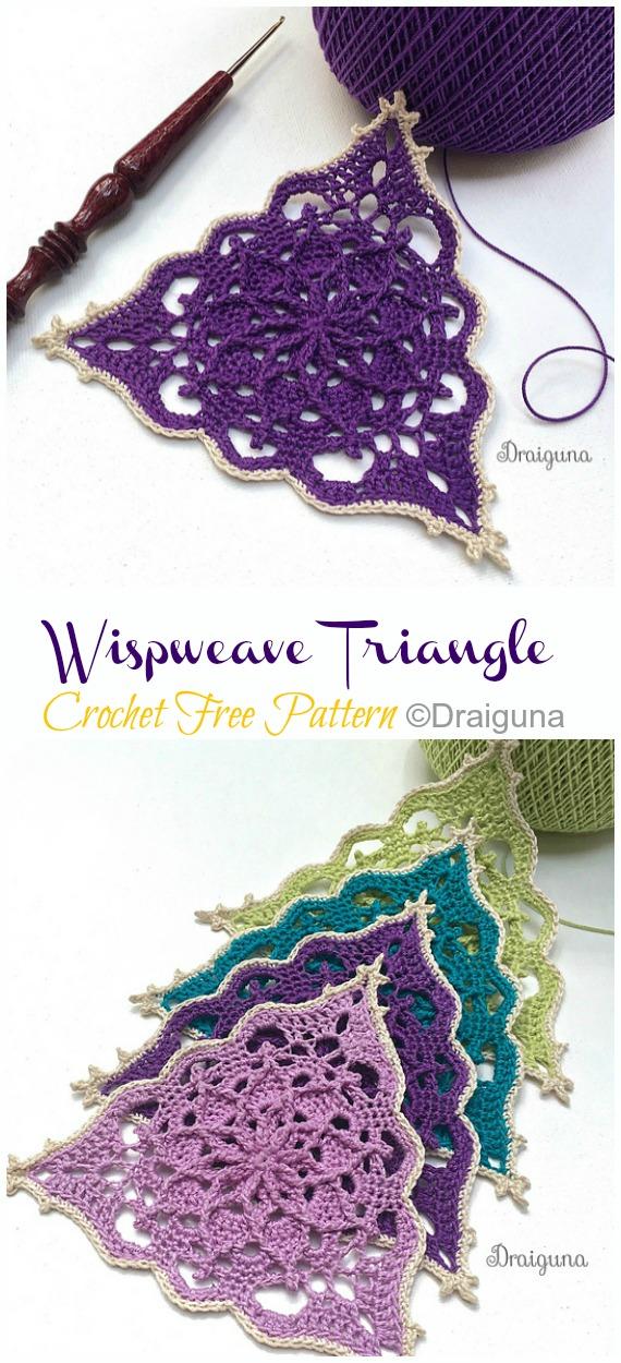 Wispweave Triangle Lace Doily Crochet Free Pattern - Decorative #Doily; Free #Crochet; Patterns