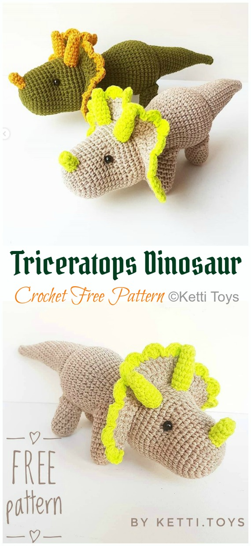 Free Crochet Dinosaur Pattern- The Friendly Dino | Crochet ... | 1240x570