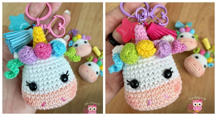 Crochet Mini Apple Keychain Amigurumi Free Patterns | 400x750