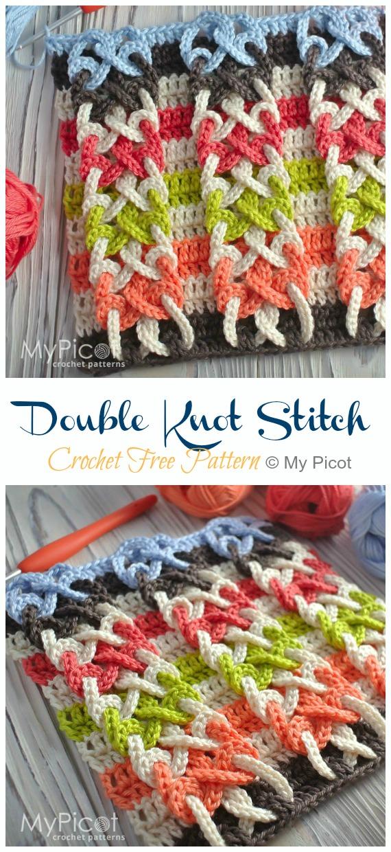 Padrão sem crochê com ponto duplo nó - Novo # ponto;  Grátis #Crochet;  Padrões