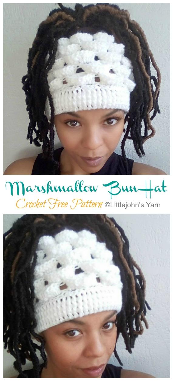 Marshmallow Messy Bun Hat Häkelanleitung kostenlos [Video] - Unordentlicher #BunHat;  Kostenlose #Häkeln;  Muster