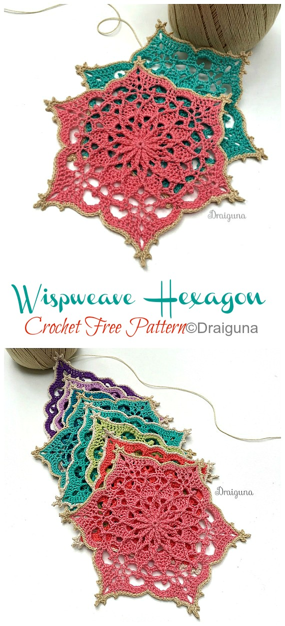 Wispweave Hexagon Lace Doily Crochet Free Pattern - Decorative #Doily; Free #Crochet; Patterns