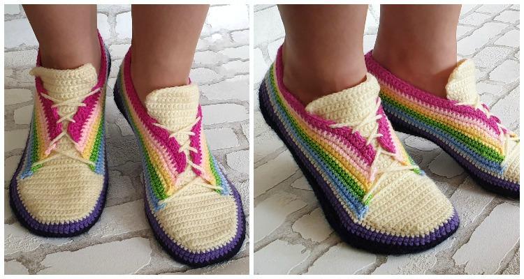 Adult Rainbow Sneakers Crochet Free