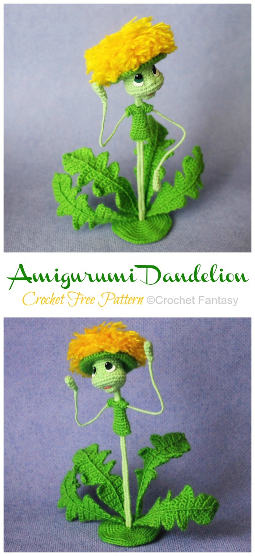 Amigurumi Dandelion Crochet Free Patterns - Plantas de Crochê #Amigurumi Free Patterns