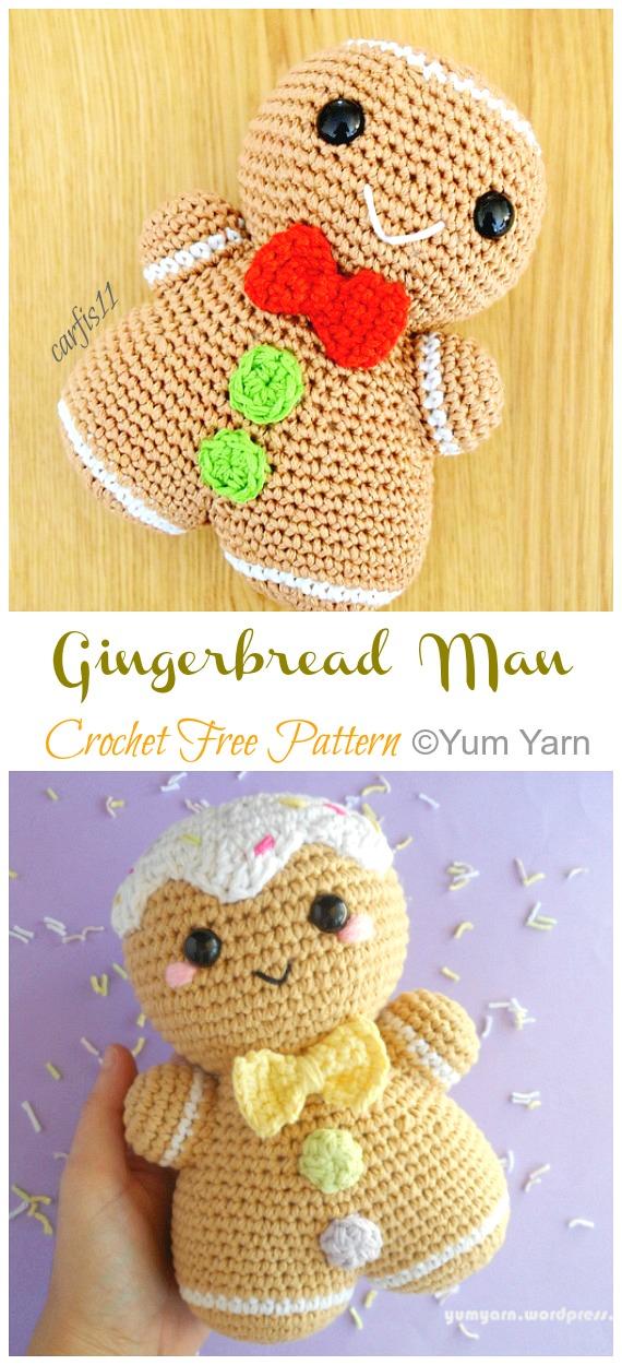 Amigurumi Gingerbread Man Crochê Padrões Grátis - Crochê #Natal;  Brinquedos #Amigurumi;  Padrões Livres