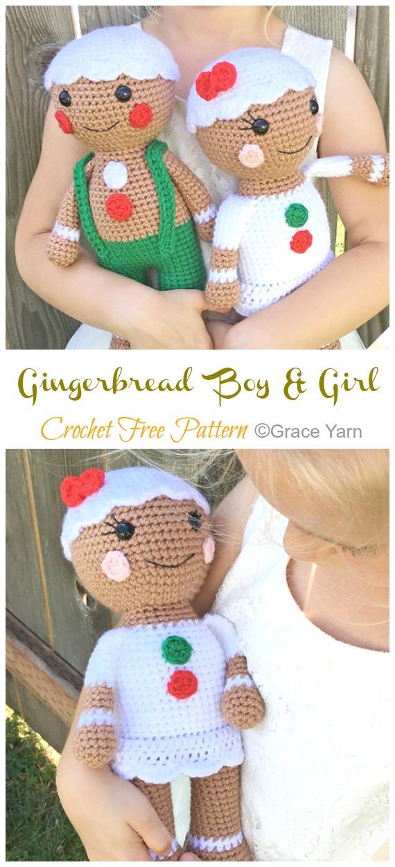 Amigurumi Gingerbread Boy & Girl Crochet Free Patterns - Crochê #Natal;  Brinquedos #Amigurumi;  Padrões Livres