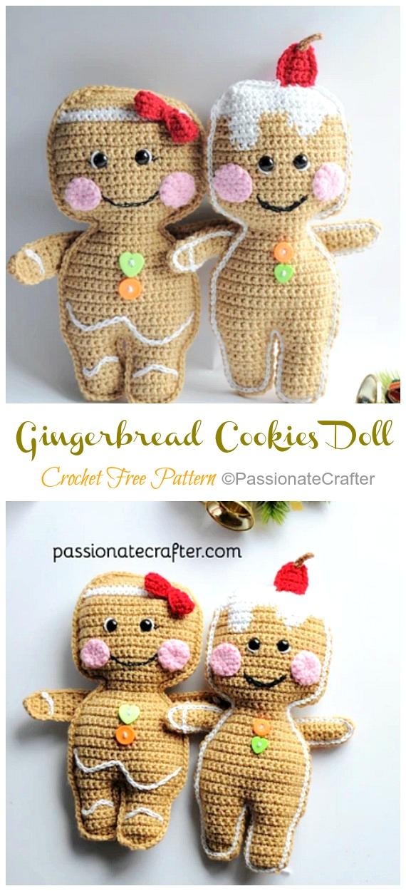 Amigurumi Gingerbread Cookies Boneca Crochê Padrões Grátis - Crochê #Natal;  Brinquedos #Amigurumi;  Padrões Livres