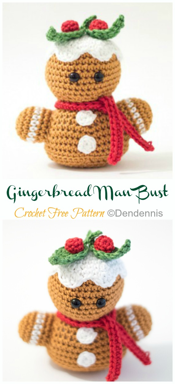Amigurumi Gingerbread Man Bust Crochet Padrões Grátis - Crochê #Natal;  Brinquedos #Amigurumi;  Padrões Livres