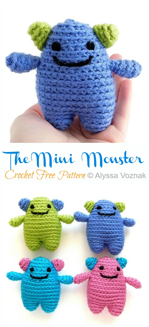 Amigurumi The Tiny Monster Crochet Free Patterns - Monster Doll #Amigurumi;  Ücretsiz Tığ Desen