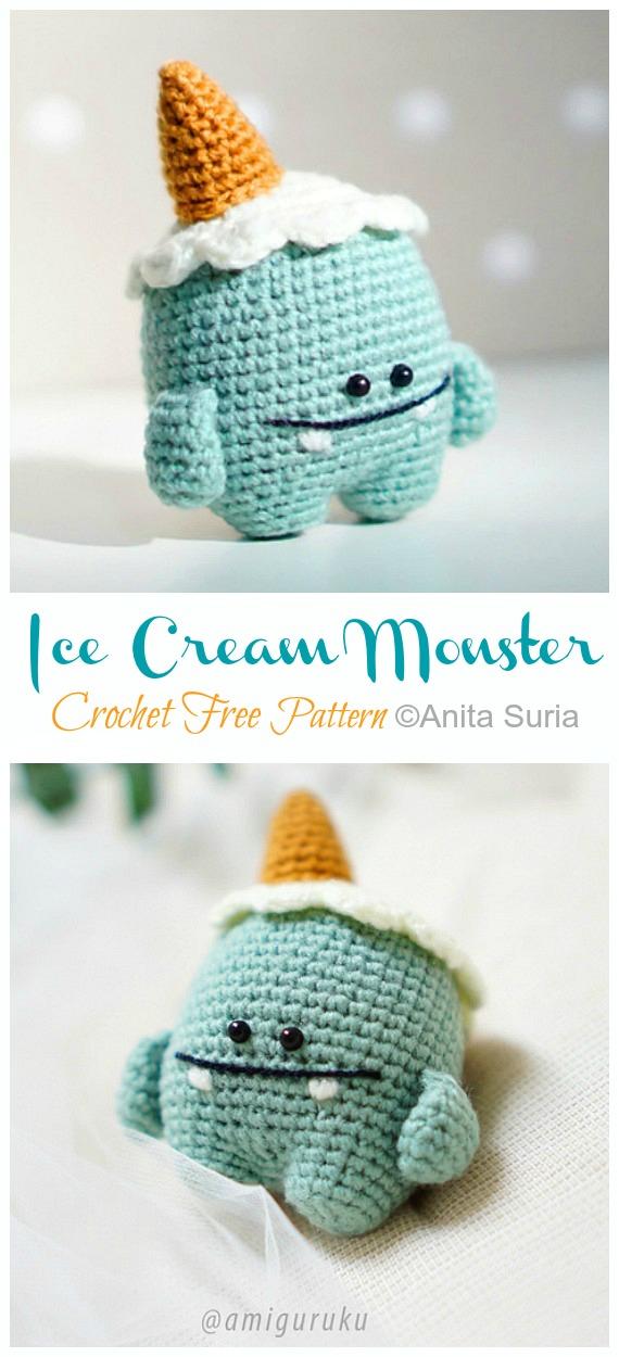 Amigurumi Dondurma Canavarı Kroşe Ücretsiz Desenler - Canavar Bebek #Amigurumi;  Ücretsiz Tığ Desenleri
