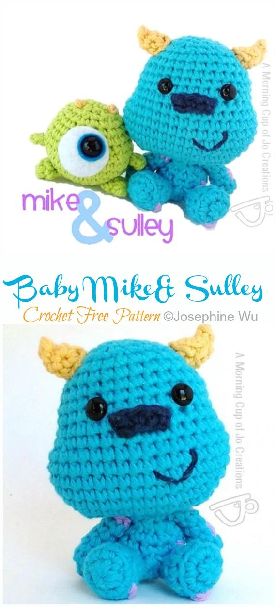 Amigurumi Monsters Inc. Bebek Mike ve Sulley Crochet Free Patterns - Monster Doll #Amigurumi;  Ücretsiz Tığ Desen