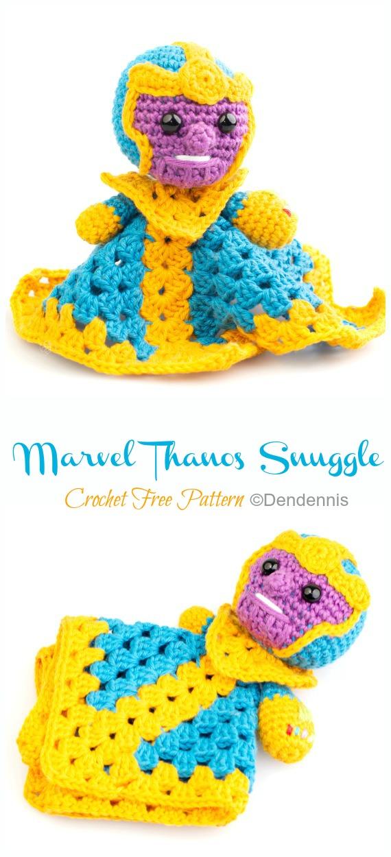 Marvel Thanos Snuggle Lovey Crochet Free Pattern - Baby #Lovey;  #Cobertor;  Consolador de segurança grátis #Crochet;  Padrões