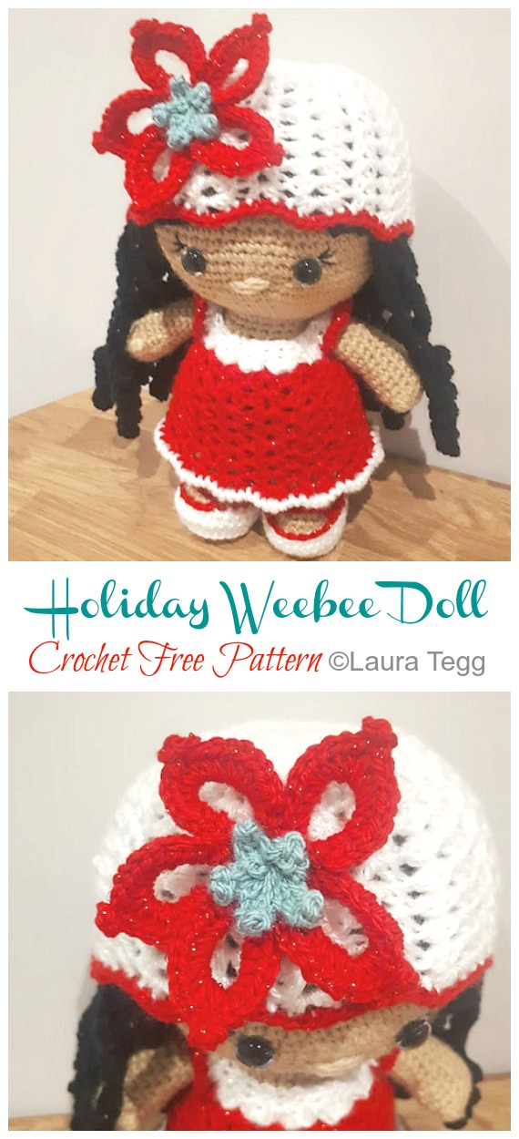 Amigurumi Holiday Weebee Doll Crochet Free Pattern - Crochet #Dolls;  #Amigurumi;  Ücretsiz Desenler