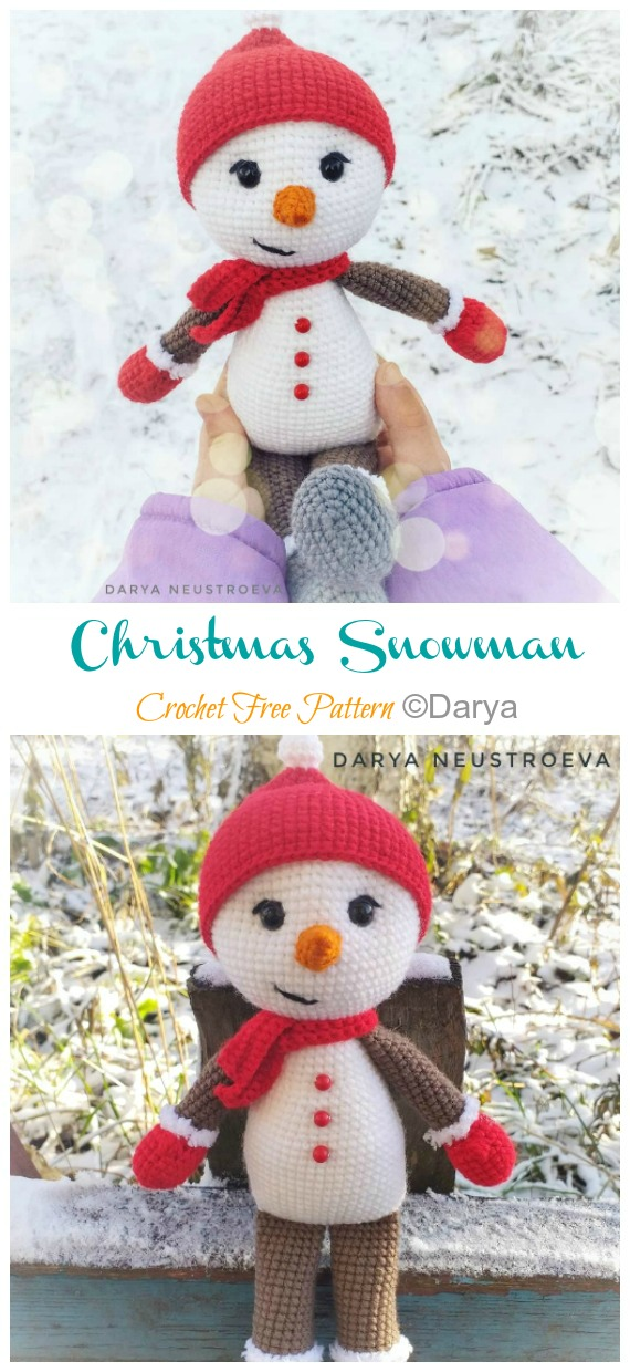 Crochet snowman in Christmas outfit - Amigurumi Today | 1240x570