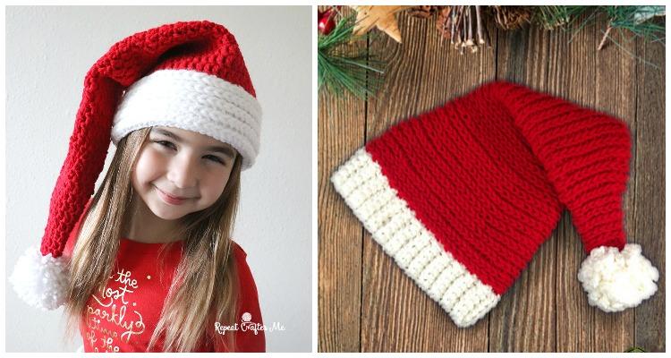 Free Christmas Hat and Beanie Patterns to Crochet | Crochet santa ... | 400x750