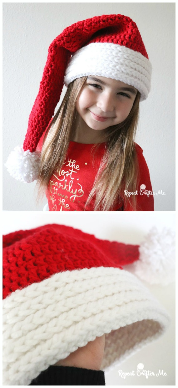 Free Crochet Pattern: Chunky Santa Hat   Crochet hats free pattern ...   1240x570