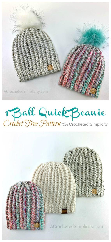 1 motif de crochet rapide de bonnet rapide de fil de boule - bonnet adulte # chapeau;  #Crochet;  Patrons gratuits