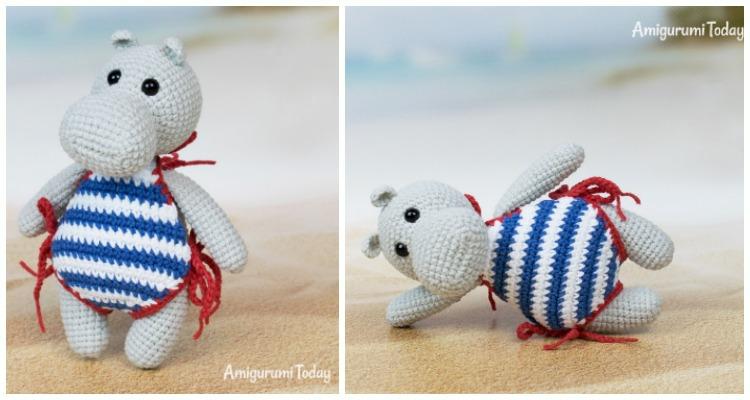 Amigurumi Cute Hippopotamus Free Crochet Pattern - Amigurumi ... | 400x750