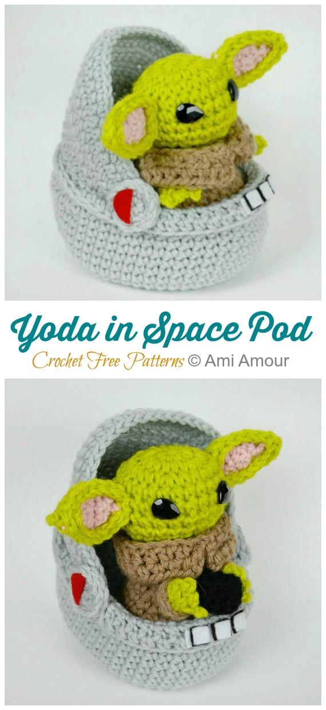 Uzay Bölmesinde Amigurumi Yoda Crochet Free Patterns - # Amigurumi;  #Oyuncak bebek;  Tığ Desenleri