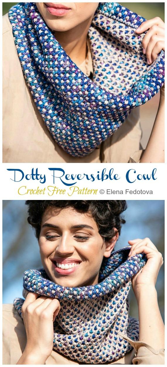 Dotty Reversible Cowl Crochet Pattern gratuit - Femmes #Cowl;  #Crochet gratuit;  Modèle