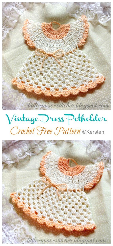 Modèles gratuits de crochet de robe vintage - Hot Pad #Potholder;  #Crochet gratuit;  Modèle