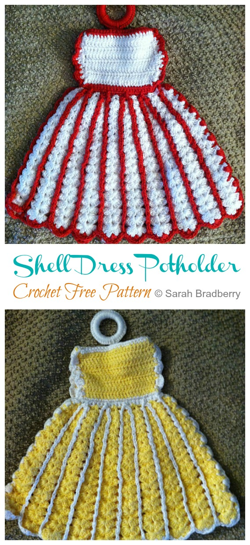 Shell Dress Manique Crochet Modèles Gratuits - Hot Pad #Potholder;  #Crochet gratuit;  Modèle