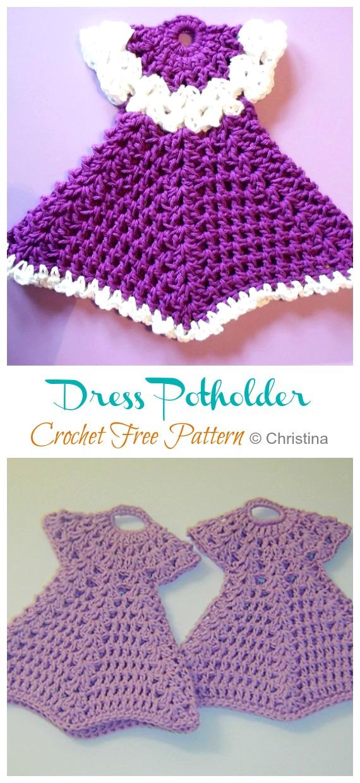 Robe Manique Crochet Modèles Gratuits - Hot Pad #Potholder;  #Crochet gratuit;  Modèle