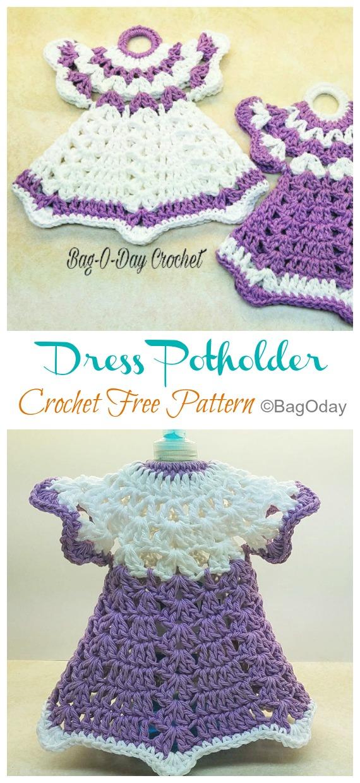 Robe Potholder Crochet Free Pattern Video - Hot Pad #Potholder;  #Crochet gratuit;  Modèle
