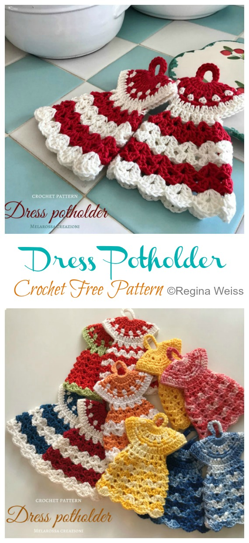 Robe Manique Crochet Modèles Gratuits - - Hot Pad #Potholder;  #Crochet gratuit;  Modèle