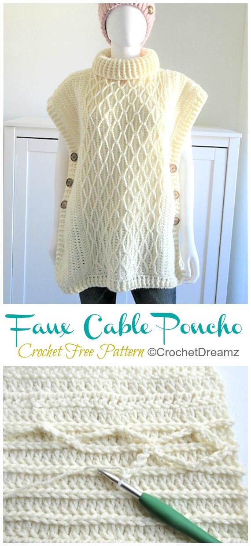 Faux Cable Poncho Crochet Free Pattern - Femmes #Poncho;  #Crochet gratuit;  Motifs