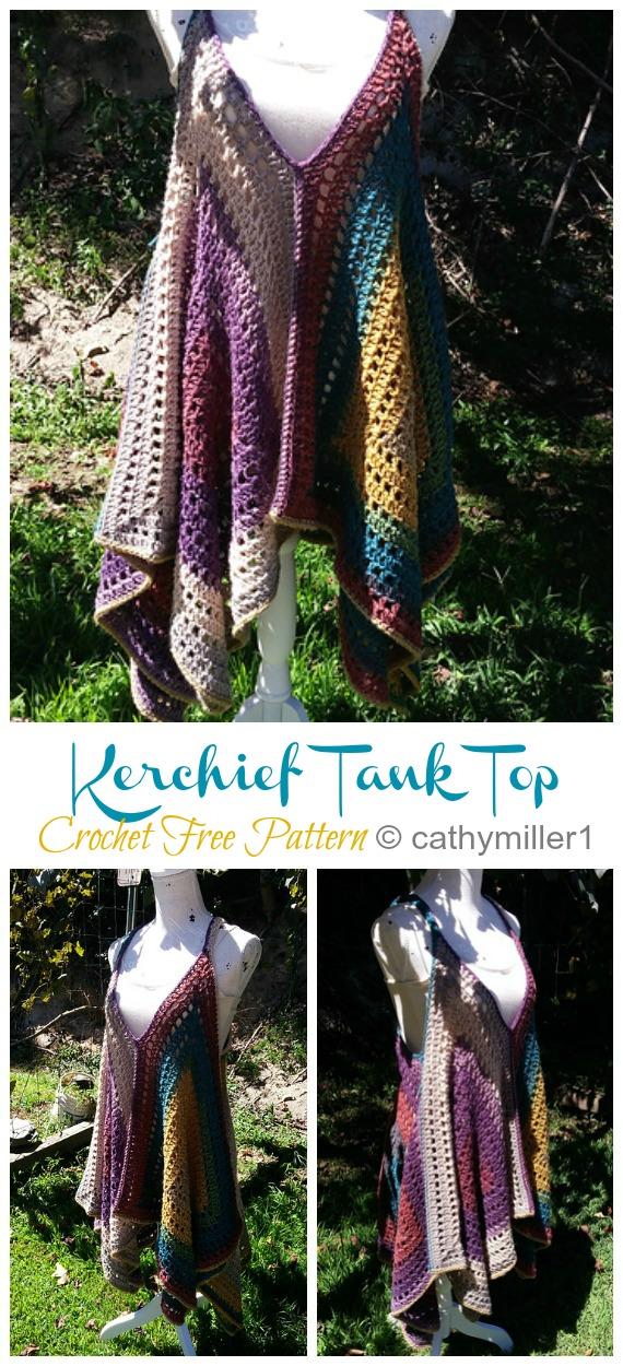 Kanata Kerchief Tank Top Crochet Free Pattern - Femmes Summer #Top Free #Crochet;  Motifs
