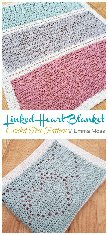 Modèle gratuit de crochet de couverture de coeur lié - #Heart;  #Couverture;  #Patrons gratuits au crochet