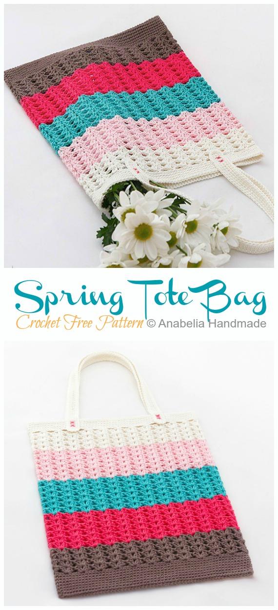 Bahar Tote Çanta Tığ Serbest Desen - Tote #Bag;  Ücretsiz #Crochet;  Desenler