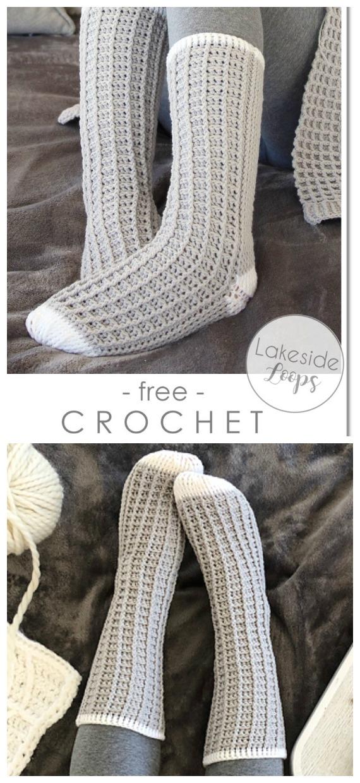 Chaussettes gaufrées Crochet gratuit - Tendance #Socks;  Patrons gratuits au crochet