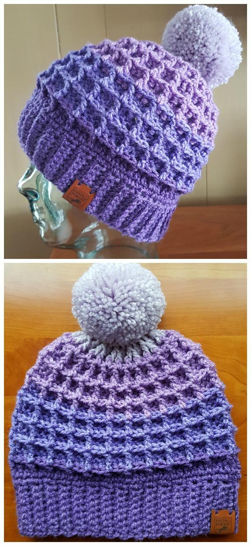 Modèles gratuits de crochet de chapeau de point de gaufre - - Bonnet adulte #Hat;  #Crochet;  Patrons gratuits