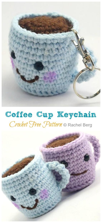 Amigurumi Coffee Cup Keychain Crochet Modèle gratuit - #Valentine;  #Amigurumi;  Modèles de crochet gratuits
