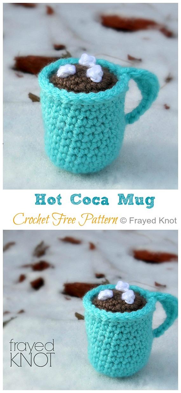 Amigurumi Hot Coca Mug Modèle gratuit au crochet - #Valentine;  #Amigurumi;  Modèles de crochet gratuits