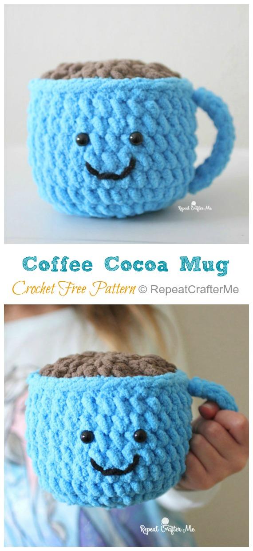 Amigurumi Coffee Cocoa Mug Modèle gratuit au crochet - #Valentine;  #Amigurumi;  Modèles de crochet gratuits