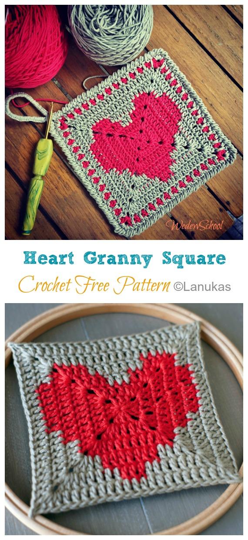 Coeur Granny Square Crochet Free Pattern - Granny Square Motif gratuit #Crochet;  Motifs