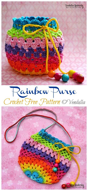 Rainbow Purse Crochet Free Pattern - İpli Çanta Ücretsiz #Crochet;  Desenler