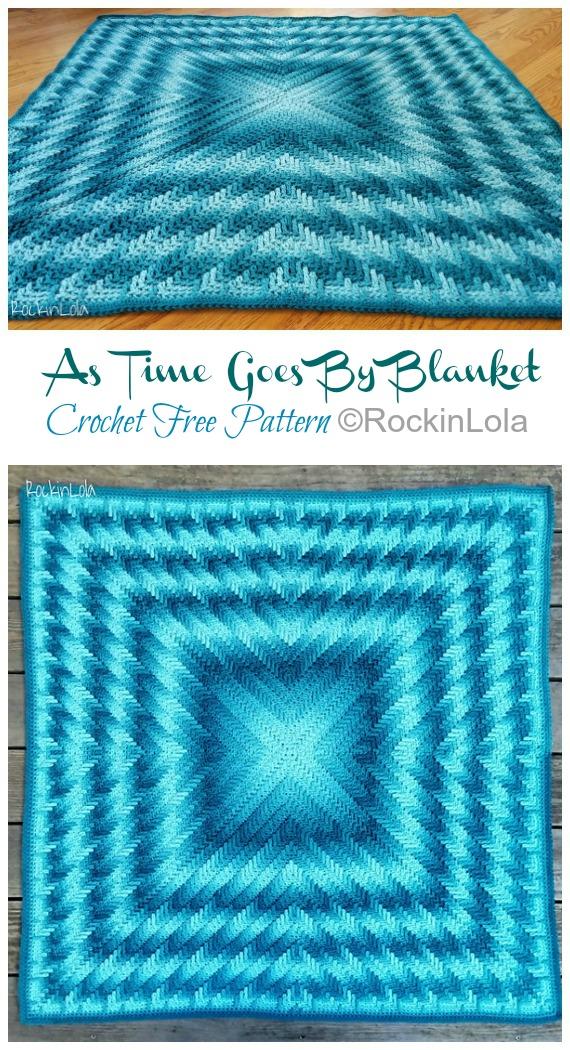 Wie die Zeit vergeht Decke häkeln kostenloses Muster - #Granny;  Quadratische #Decke;  Kostenlose #Häkeln;  Muster