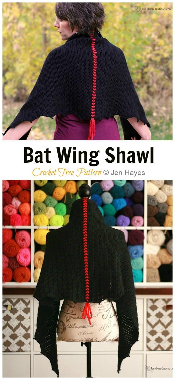 Fledermausflügel-Schal häkeln freies Muster - Frauen-Spitze #Schal;  Kostenlose #Häkeln;  Muster