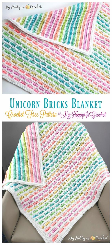 Unicorn Bricks Bebek Battaniyesi Crochet Free Pattern- Blok #Blanket;  Ücretsiz Tığ Desenleri