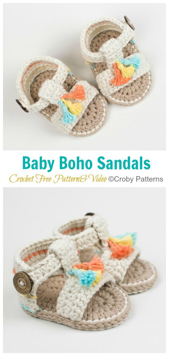 Sandálias Boho Bebê Crochê Padrão Grátis [Video] - Baby #Booties;  Grátis #Crochet;  Padrões