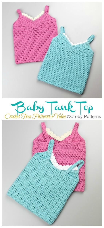 Baby Tank Top Crochet Padrão Grátis - Baby Sweater #Top;  Grátis #Crochet;  Padrões