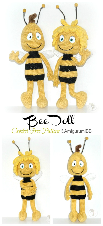 Amigurumi Bee Doll Crochet Padrões Grátis - Crochet #Bonecas;  #Amigurumi;  Padrões Livres