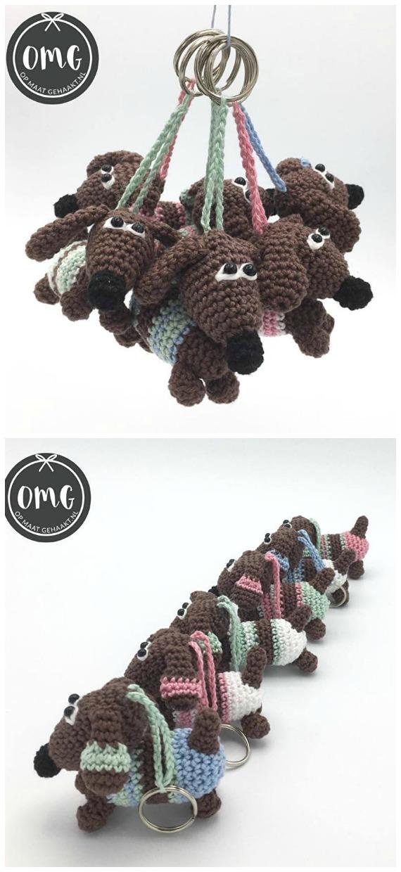Amigurumi dog keychain/bag charm: pattern | Amiguroom Toys | 1240x570