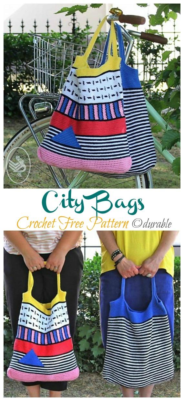 City Bags kostenlose Häkelanleitung - #Crochet;  Markt Lebensmittel #Tasche;Kostenlose Muster